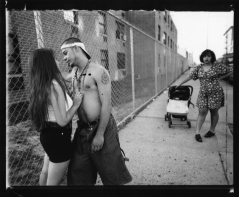 Anthony Hitting on Giselle, Vivien Waiting, Lorimer Street, Williamsburg, Brooklyn, 1996