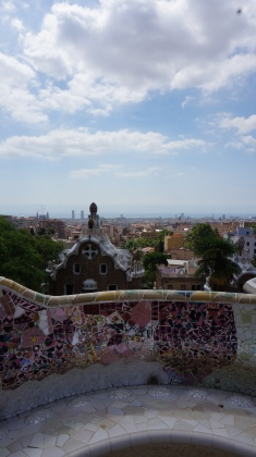 A view over Barcelona from a lookout point in the park